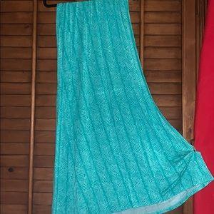 VOLCOM Maxi Blue-green Tropical Skirt XS